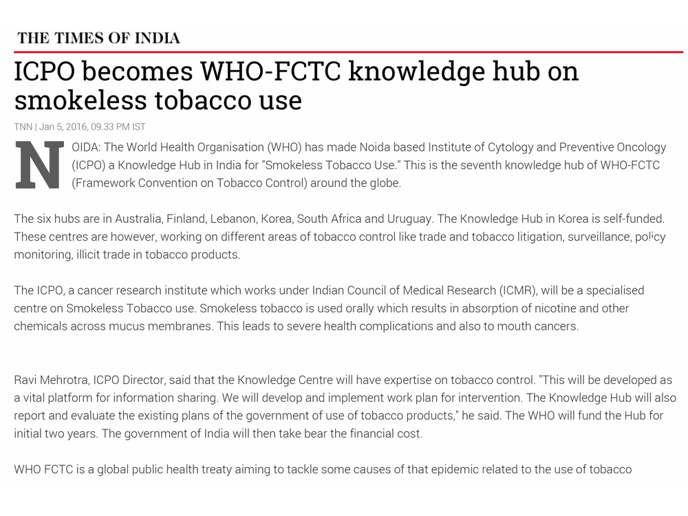 NICPR (ICPO) becomes WHO-FCTC Knowledge Hub on Smokeless Tobacco Use