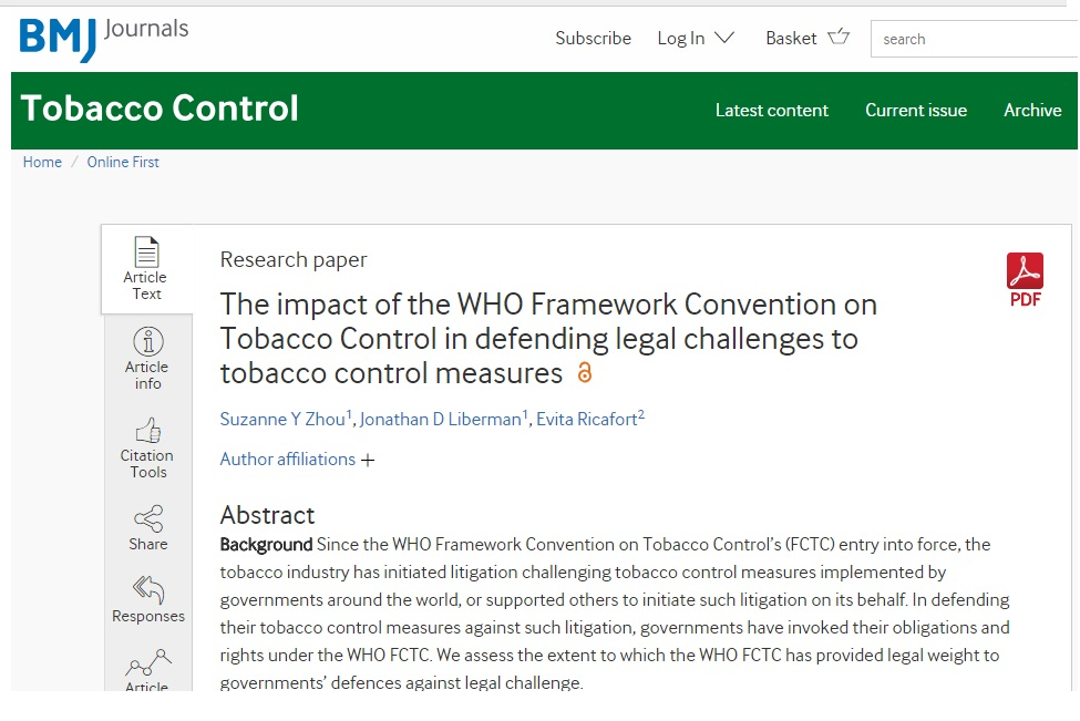 New paper – The impact of the WHO Framework Convention on Tobacco Control in defending legal challenges to tobacco control measures